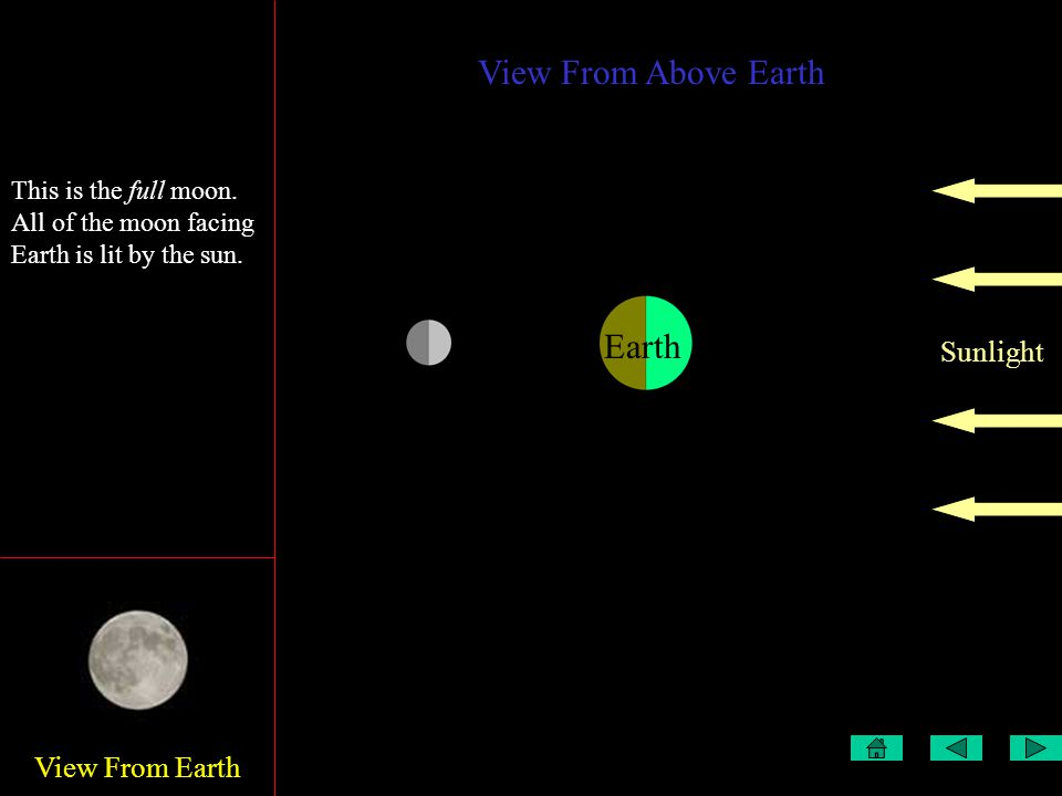 View From Earth View From Above Earth Sunlight Earth This is the first quarter This is the full moon.