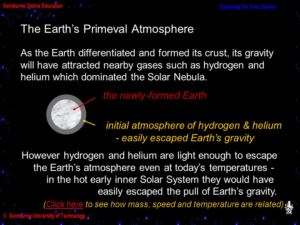 The Earth's Primeval Atmosphere the newly-formed Earth initial atmosphere of hydrogen & helium As the Earth differentiated and formed its crust, its g