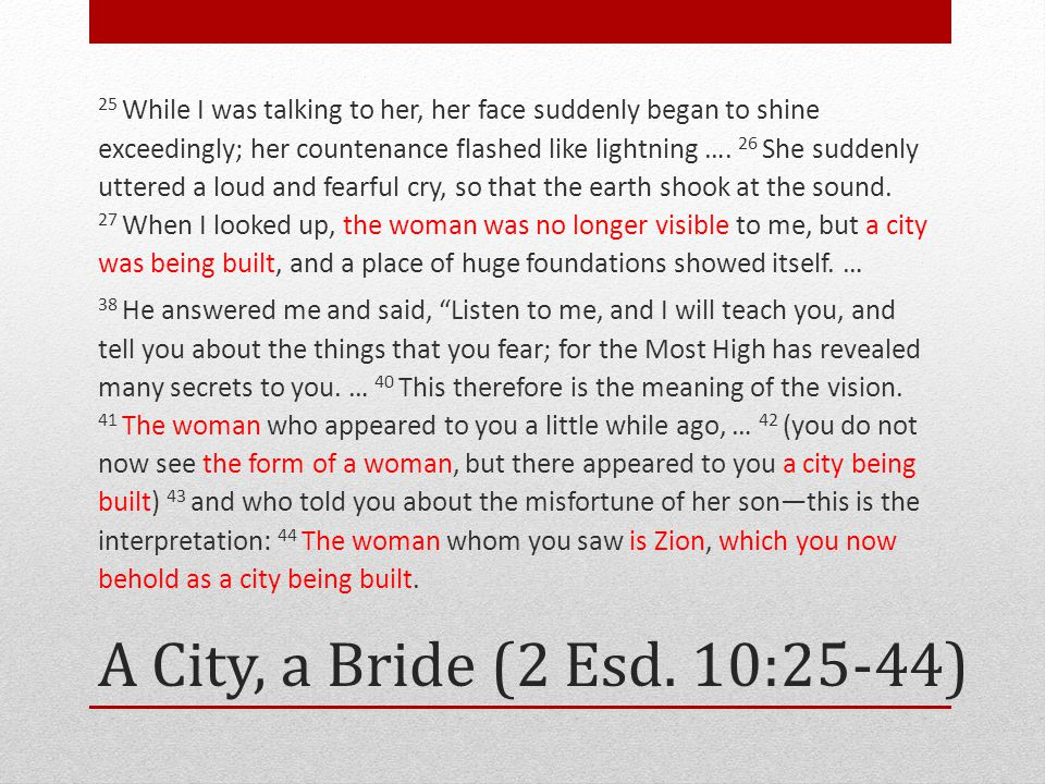 A City, a Bride (2 Esd. 10:25-44) 25 While I was talking to her, her face suddenly began to shine exceedingly; her countenance flashed like lightning