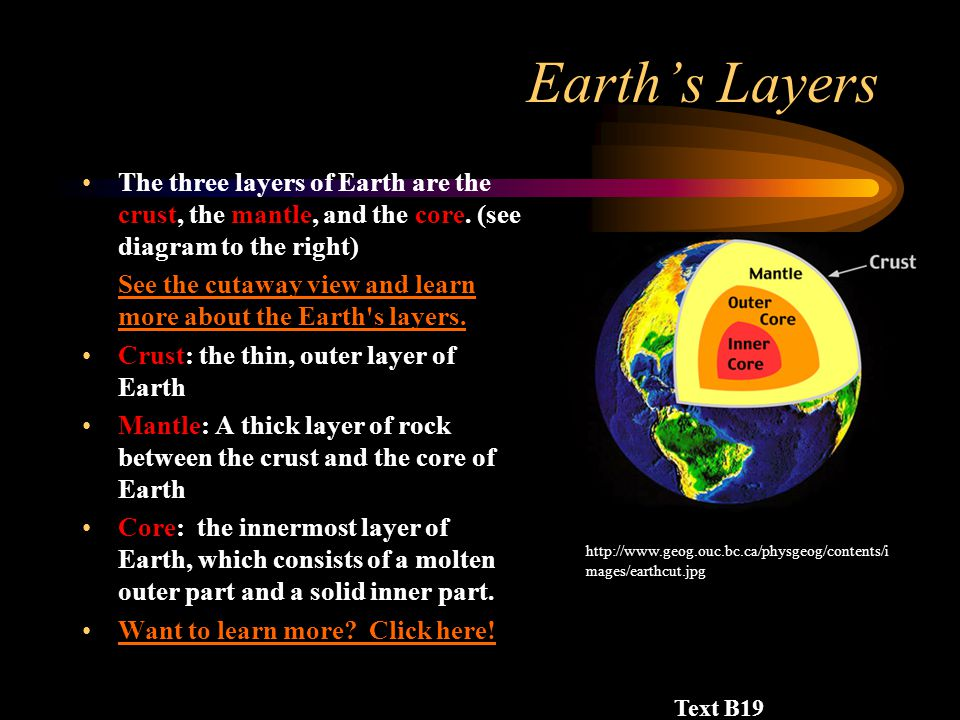 Earth's Layers The three layers of Earth are the crust, the mantle, and the core.