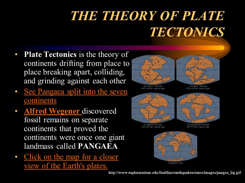 THE THEORY OF PLATE TECTONICS Plate Tectonics is the theory of continents drifting from place to place breaking apart, colliding, and grinding against each other See Pangaea split into the seven continentsSee Pangaea split into the seven continents Alfred Wegener discovered fossil remains on separate continents that proved the continents were once one giant landmass called PANGAEAAlfred Wegener Click on the map for a closer view of the Earth s plates.Click on the map for a closer view of the Earth s plates.