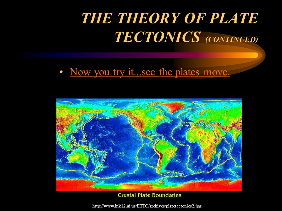 THE THEORY OF PLATE TECTONICS (CONTINUED) Now you try it...see the plates move.