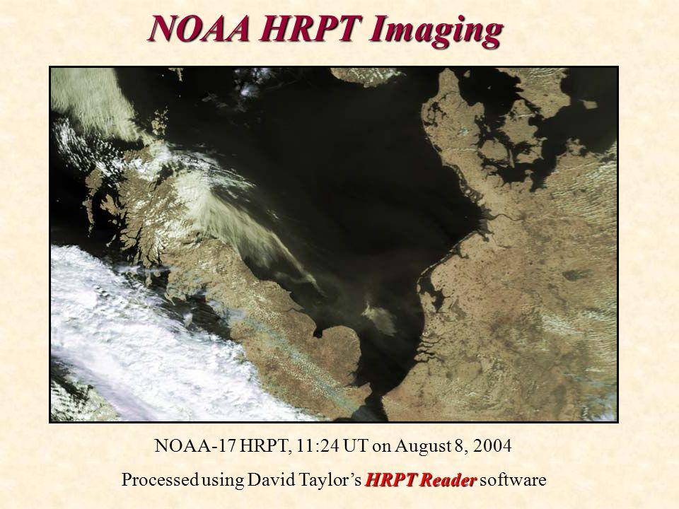 NOAA HRPT Imaging NOAA-17 HRPT, 11:24 UT on August 8, 2004 HRPT Reader Processed using David Taylor's HRPT Reader software
