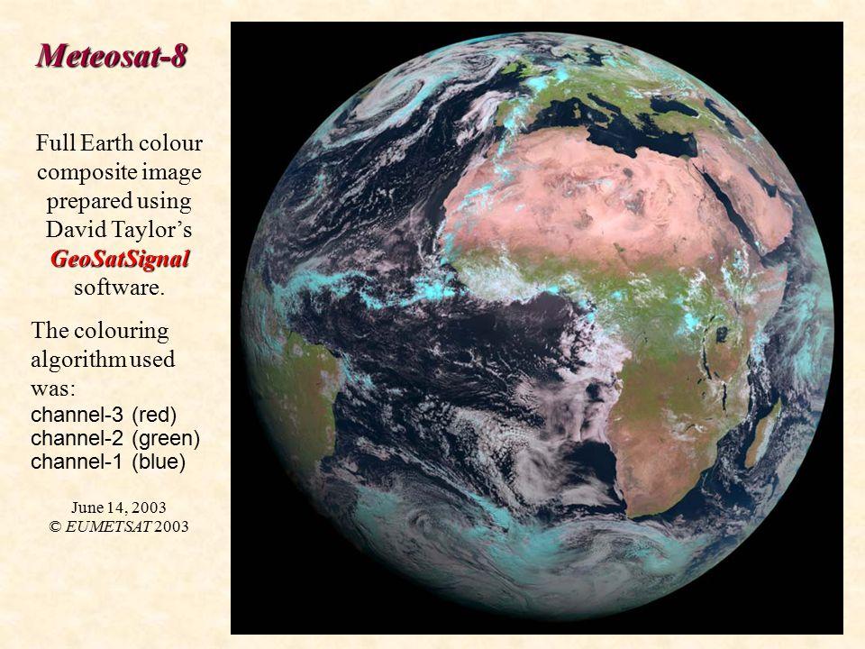Meteosat-8 GeoSatSignal Full Earth colour composite image prepared using David Taylor's GeoSatSignal software.