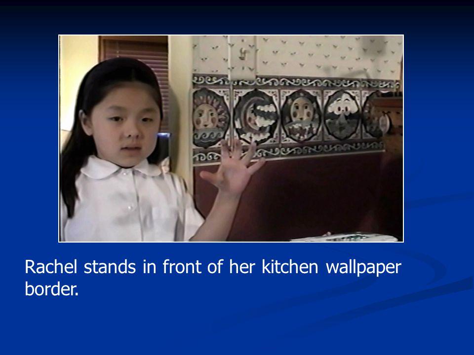 Rachel stands in front of her kitchen wallpaper border.