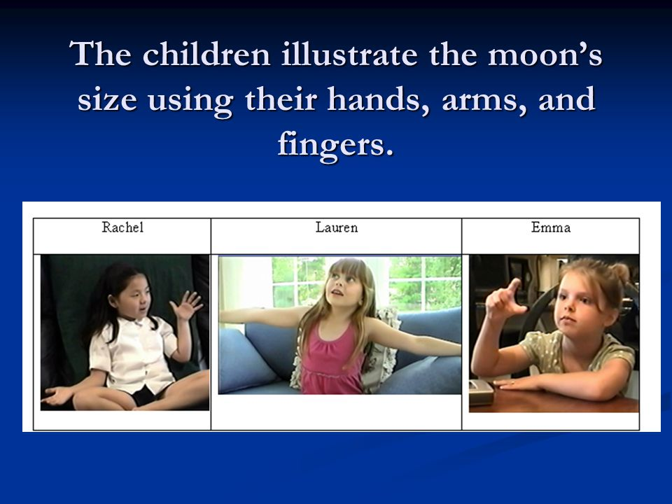 The children illustrate the moon's size using their hands, arms, and fingers.