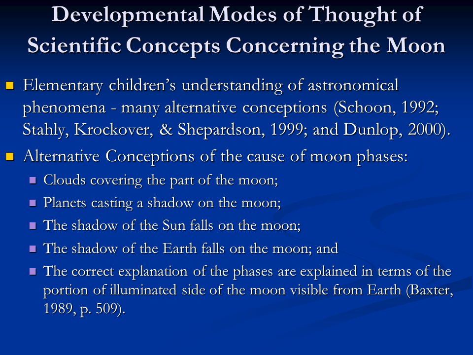 Developmental Modes of Thought of Scientific Concepts Concerning the Moon Elementary children's understanding of astronomical phenomena - many alternative conceptions (Schoon, 1992; Stahly, Krockover, & Shepardson, 1999; and Dunlop, 2000).