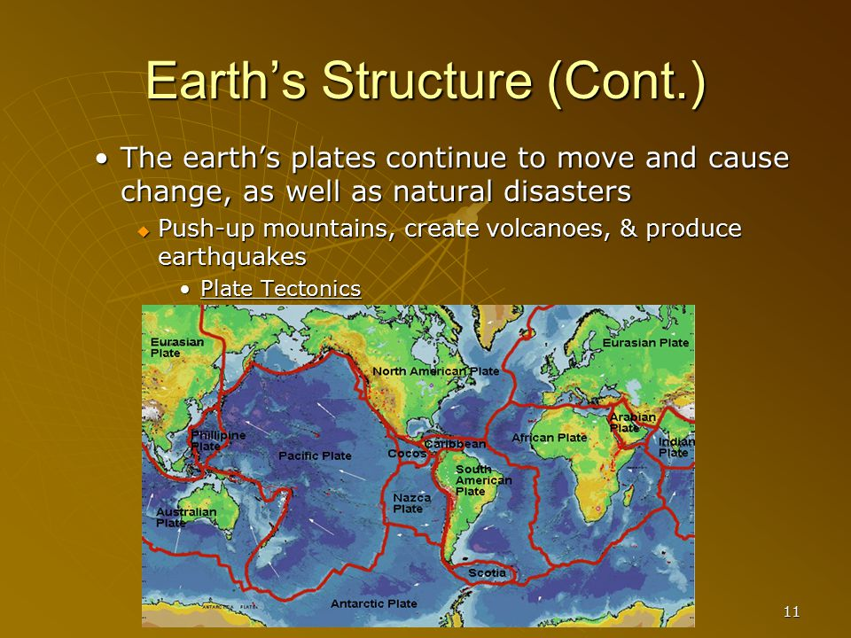 11 Earth's Structure (Cont.) The earth's plates continue to move and cause change, as well as natural disasters  Push-up mountains, create volcanoes,