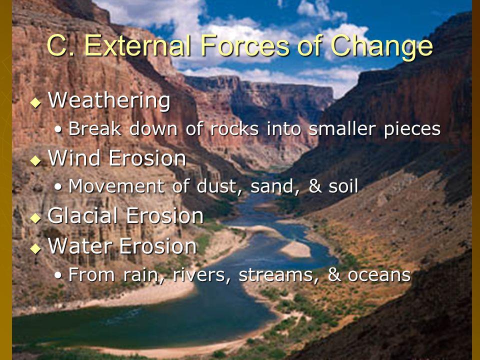 14 C. External Forces of Change  Weathering Break down of rocks into smaller piecesBreak down of rocks into smaller pieces  Wind Erosion Movement of