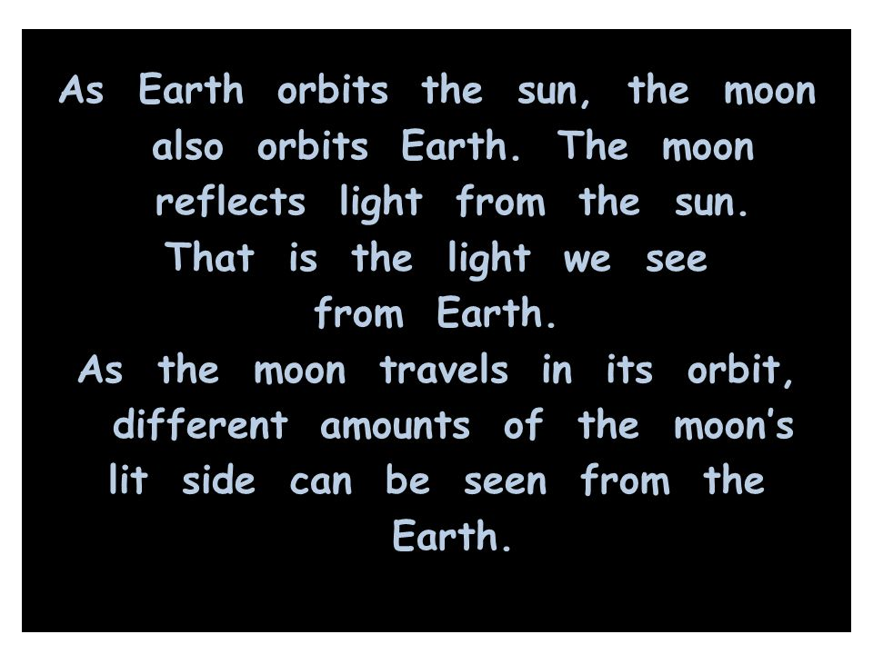 As Earth orbits the sun, the moon also orbits Earth. The moon reflects light from the sun. That is the light we see from Earth. As the moon travels in