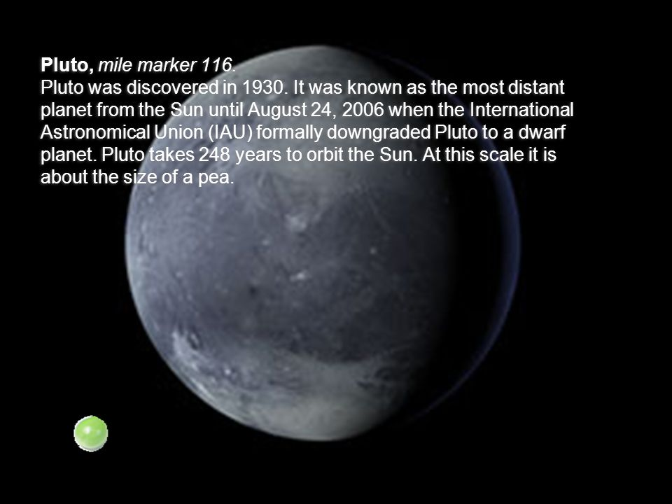 Pluto, mile marker 116.Pluto was discovered in 1930.