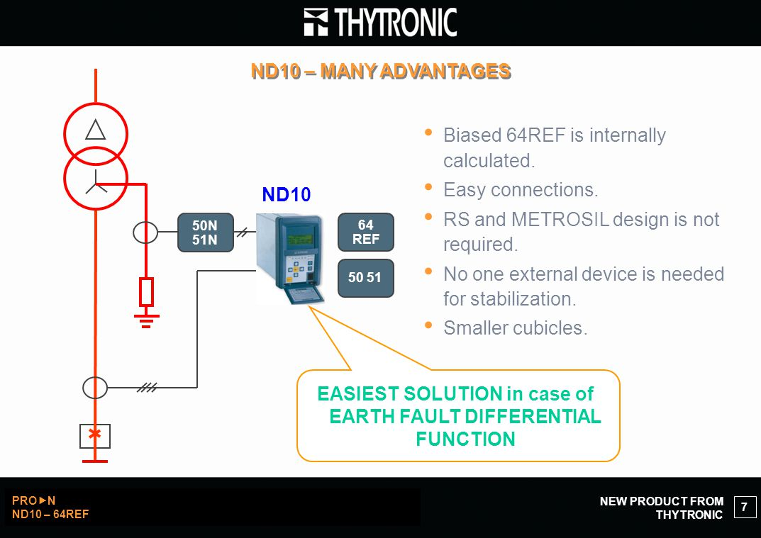 NEW PRODUCT FROM THYTRONIC PRO  N ND10 – 64REF 7 ND10 – MANY ADVANTAGES 50 51 ND10 64 REF EASIEST SOLUTION in case of EARTH FAULT DIFFERENTIAL FUNCTION Biased 64REF is internally calculated.