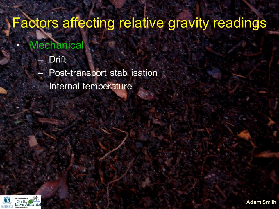 Adam Smith Factors affecting relative gravity readings Mechanical –Drift –Post-transport stabilisation –Internal temperature