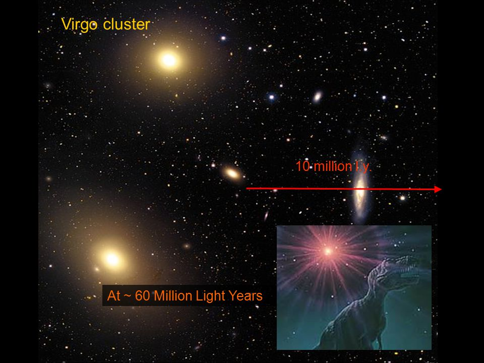 Virgo cluster At ~ 60 Million Light Years 10 million l.y.