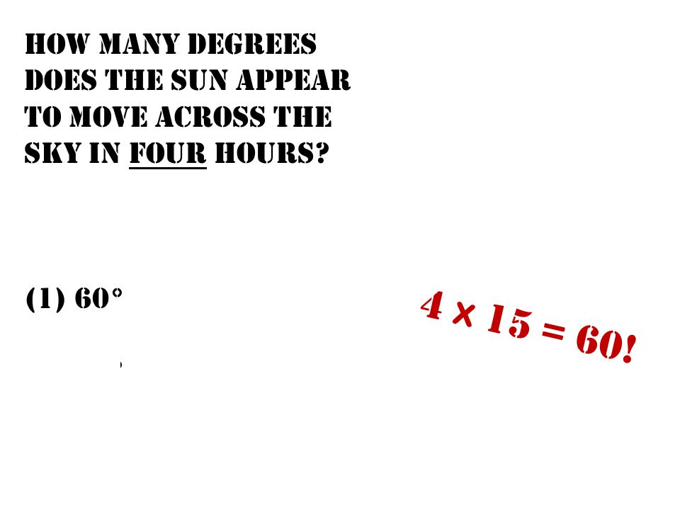 How many degrees does the Sun appear to move across the sky in four hours? (1) 60° (3) 15° (2) 45° (4) 4° 4 x 15 = 60!