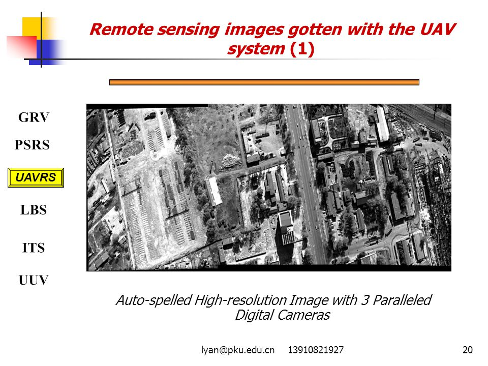 lyan@pku.edu.cn 1391082192720 Remote sensing images gotten with the UAV system (1) Auto-spelled High-resolution Image with 3 Paralleled Digital Camera