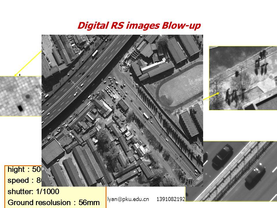 lyan@pku.edu.cn 1391082192721 hight : 500m speed : 80km/h shutter: 1/1000 Ground resolusion : 56mm Digital RS images Blow-up