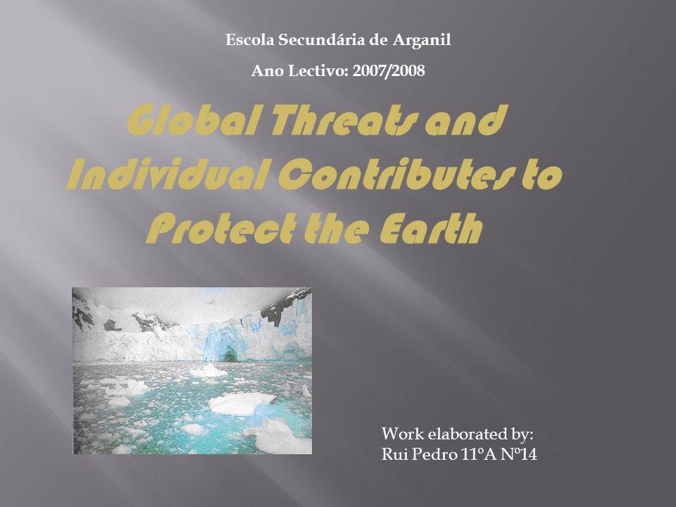 Work elaborated by: Rui Pedro 11ºA Nº14 Escola Secundária de Arganil Ano Lectivo: 2007/2008 Global Threats and Individual Contributes to Protect the E