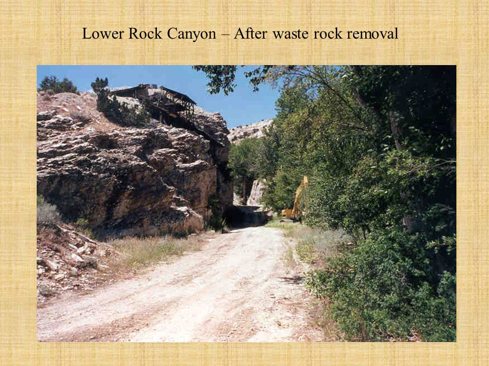 Rock Canyon during early stages of removal of waste rock. Historic waste rock depth.