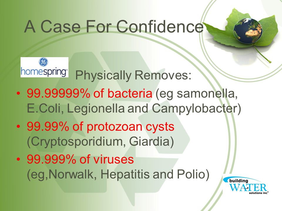 A Case For Confidence Physically Removes: 99.99999% of bacteria (eg samonella, E.Coli, Legionella and Campylobacter) 99.99% of protozoan cysts (Cryptosporidium, Giardia) 99.999% of viruses (eg,Norwalk, Hepatitis and Polio)