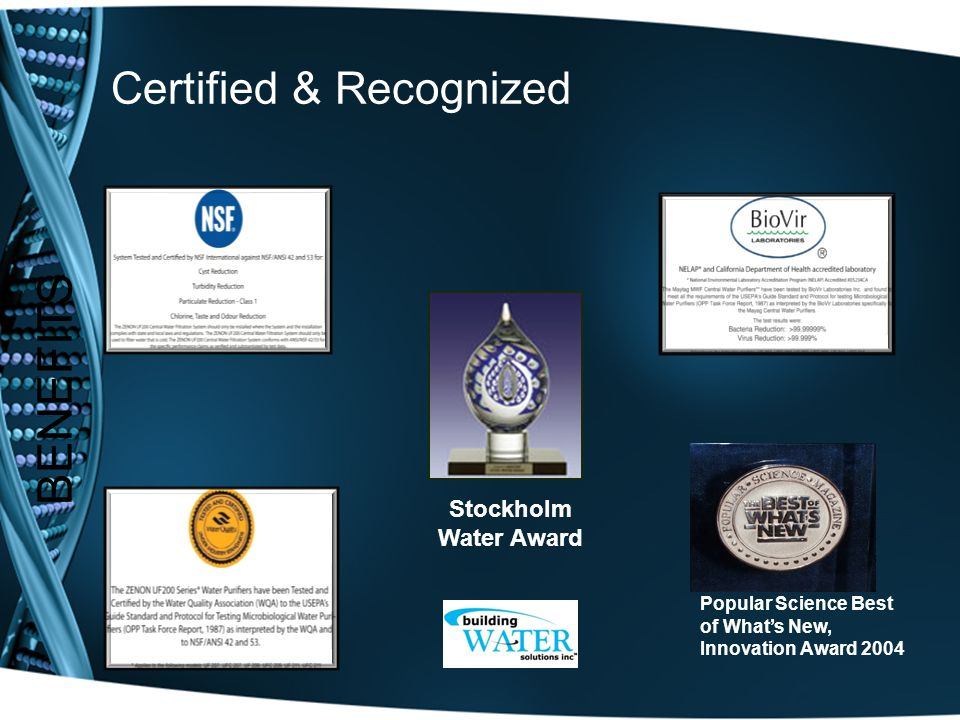 Certified & Recognized BENEFITS Stockholm Water Award Popular Science Best of What's New, Innovation Award 2004