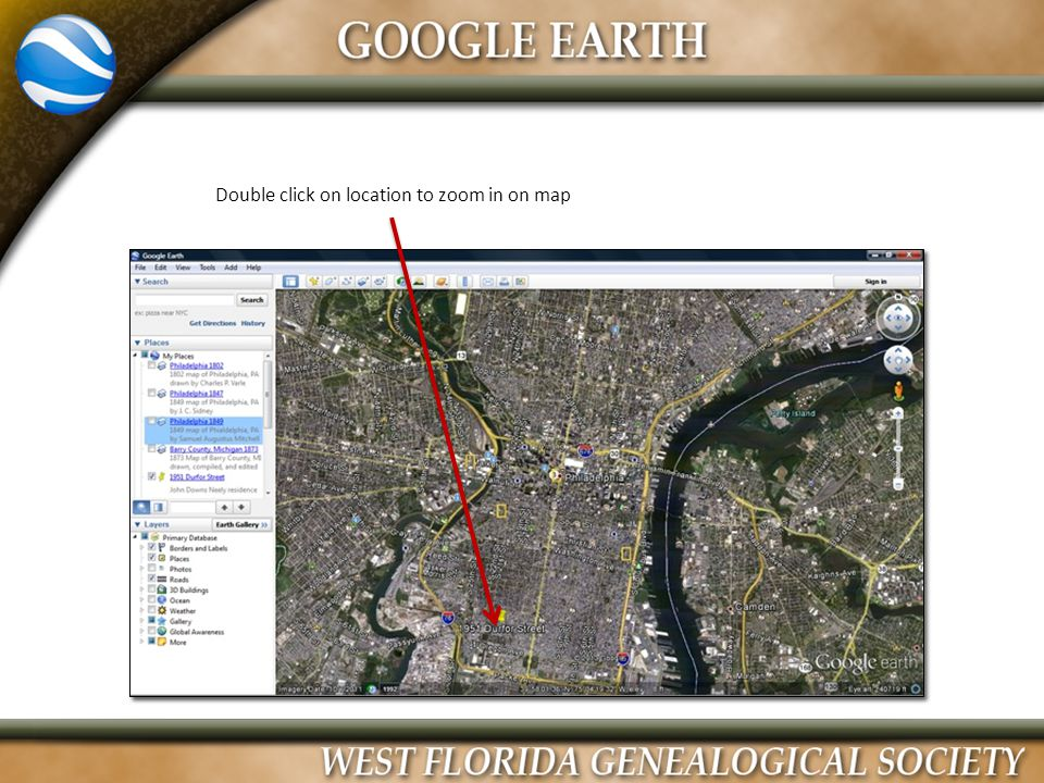 Double click on location to zoom in on map