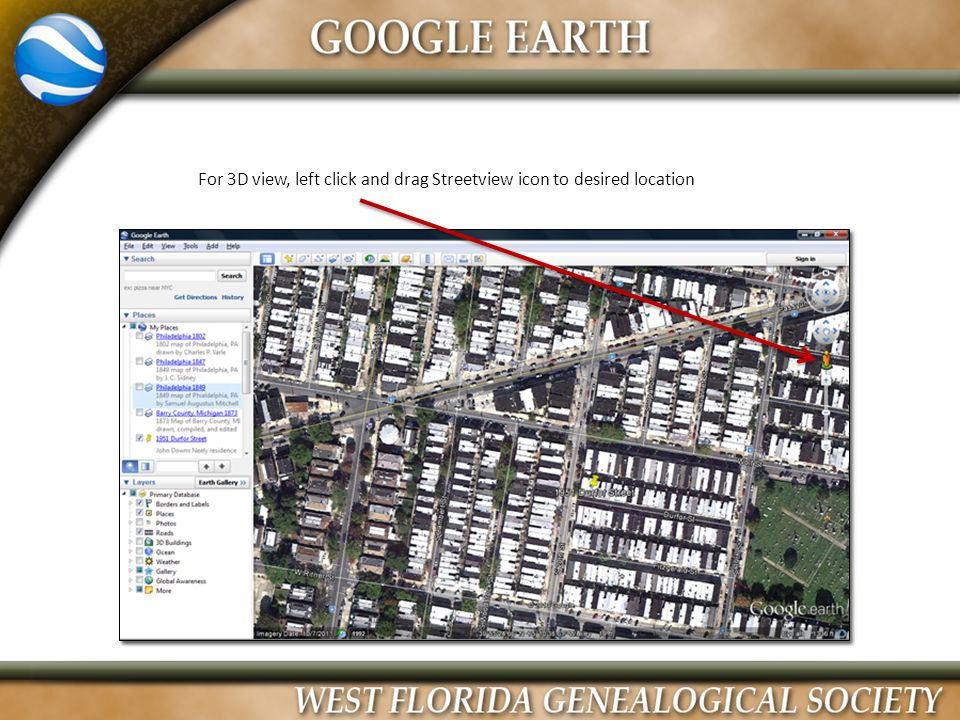 For 3D view, left click and drag Streetview icon to desired location