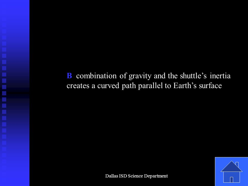Dallas ISD Science Department B combination of gravity and the shuttle's inertia creates a curved path parallel to Earth's surface