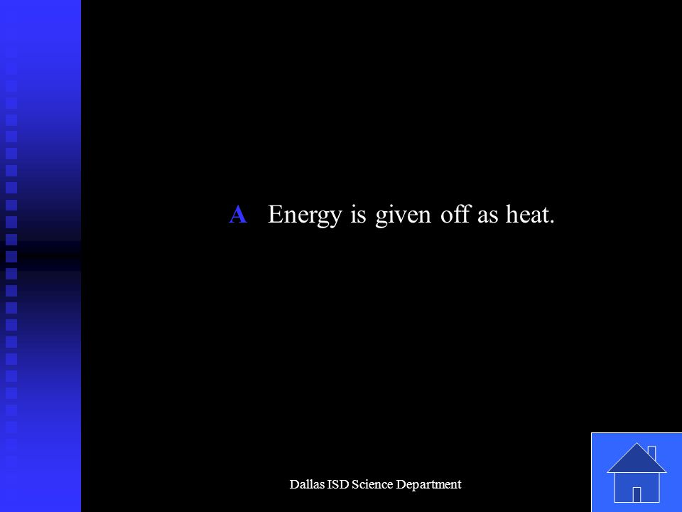 Dallas ISD Science Department A Energy is given off as heat.