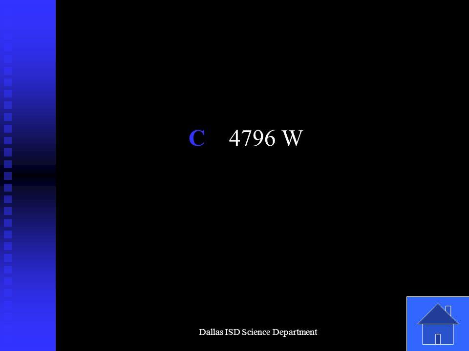 Dallas ISD Science Department C 4796 W