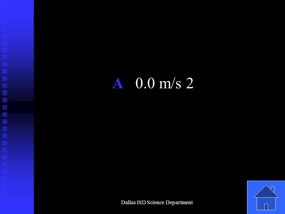 Dallas ISD Science Department A 0.0 m/s 2