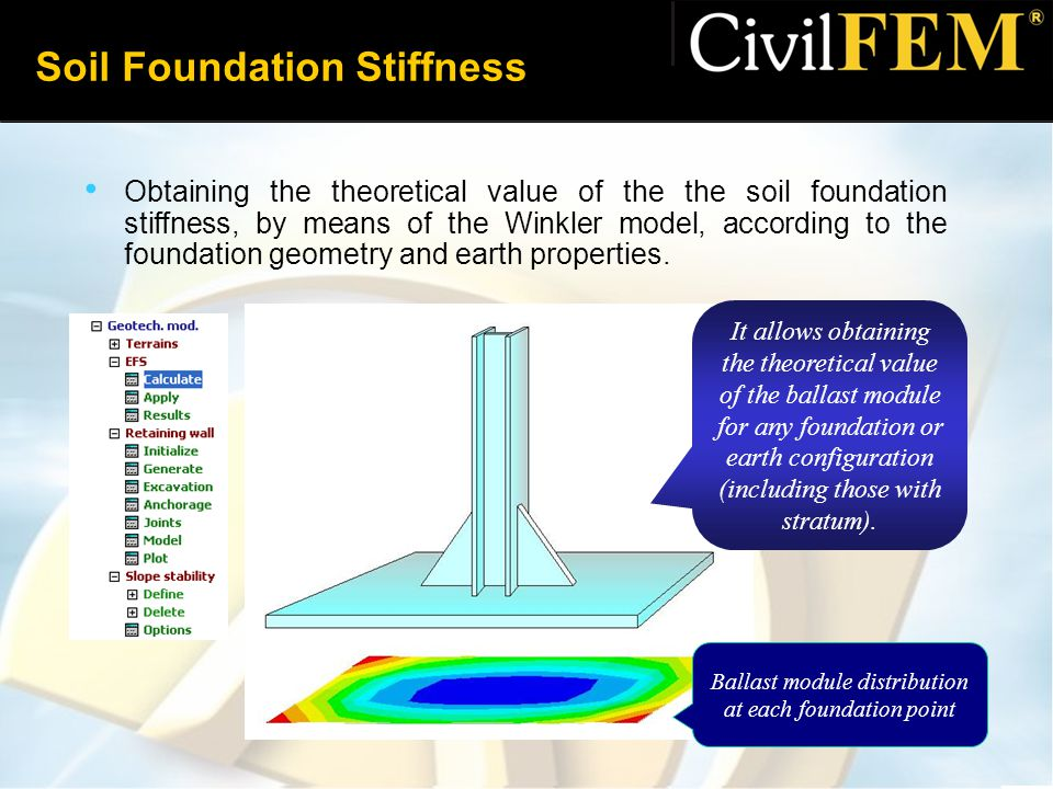 Soil Foundation Stiffness Obtaining the theoretical value of the the soil foundation stiffness, by means of the Winkler model, according to the foundation geometry and earth properties.