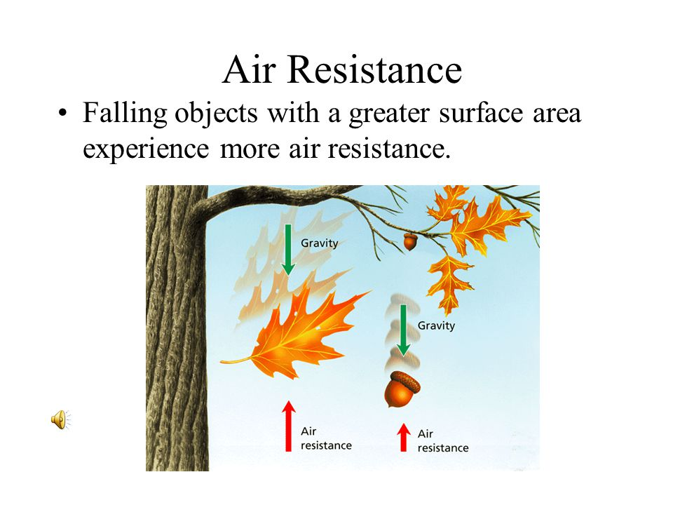 - Friction and Gravity Air Resistance Falling objects with a greater surface area experience more air resistance.