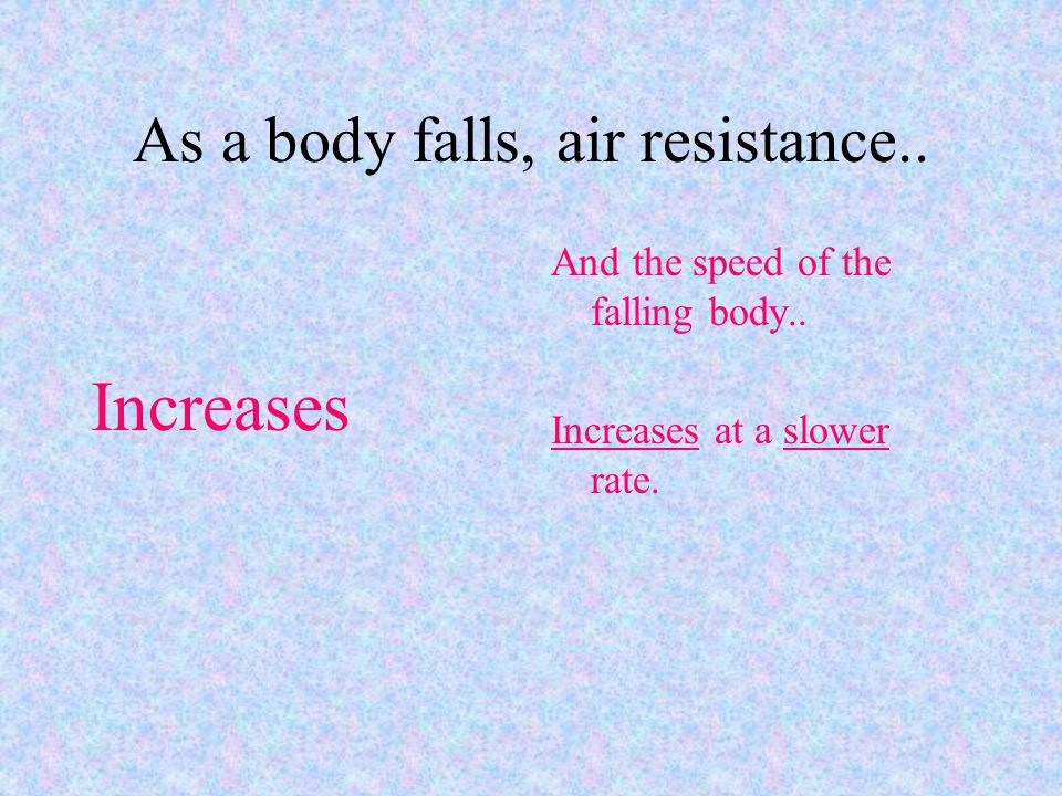 As a body falls, air resistance..Increases And the speed of the falling body..