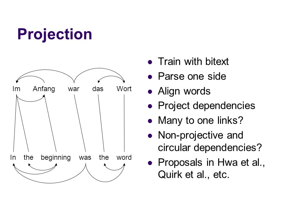 Projection Train with bitext Parse one side Align words Project dependencies Many to one links? Non-projective and circular dependencies? Proposals in