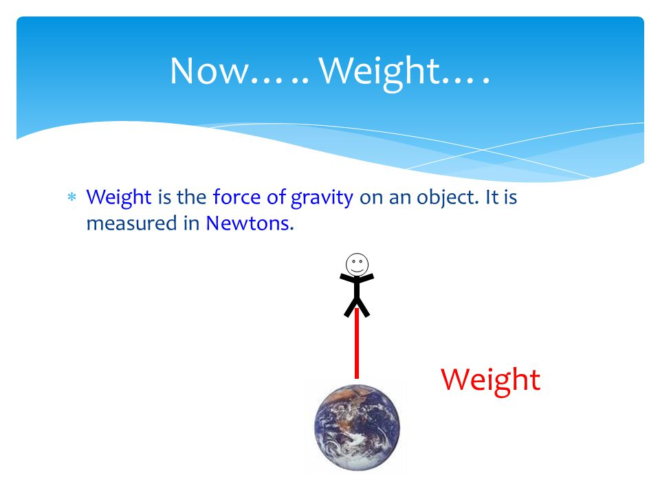  Weight is the force of gravity on an object. It is measured in Newtons. Now….. Weight…. Weight