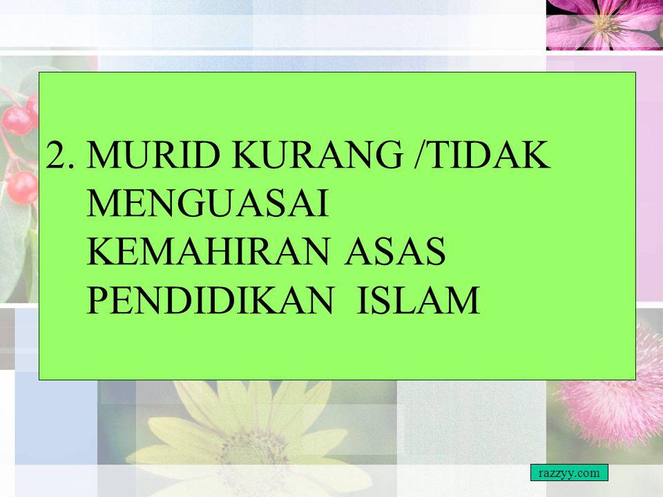 CARA MENGATASI Tukar anggapan Mata pelajaran Pendidikan Islam – –Ibadah dan amalan –Maruah sebagai umat Islam –Peperiksaan Kefahaman yang mantap dalam
