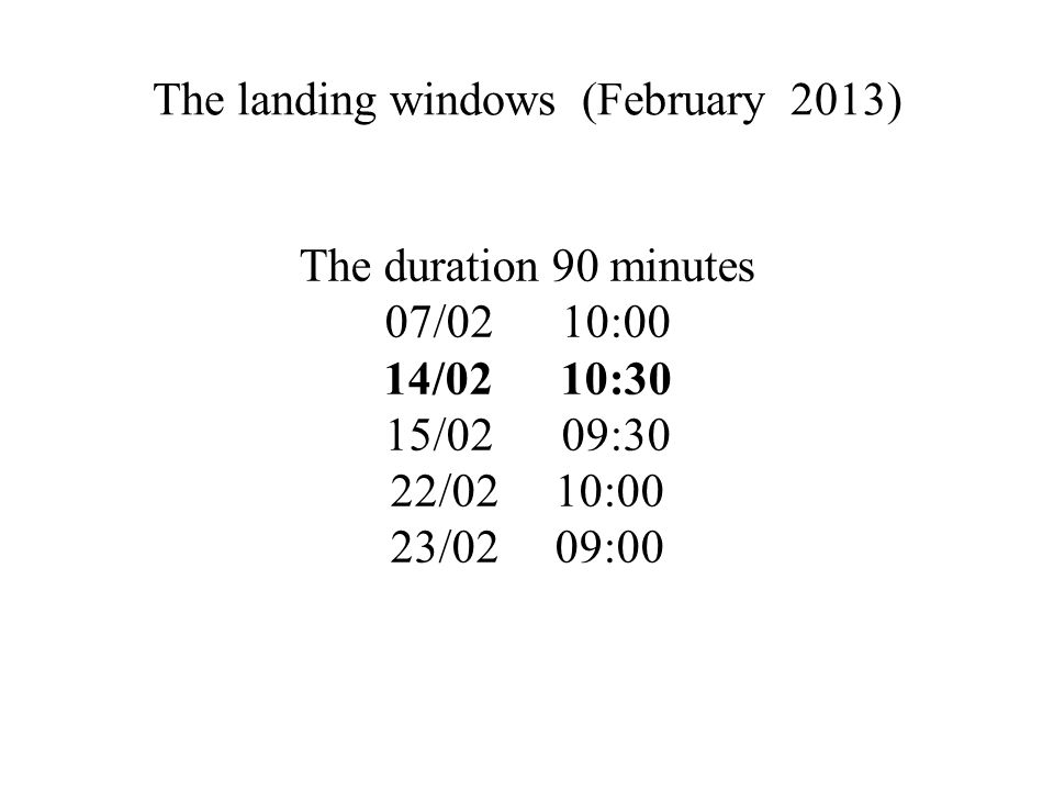 The landing windows (February 2013) The duration 90 minutes 07/02 10:00 14/02 10:30 15/02 09:30 22/02 10:00 23/02 09:00