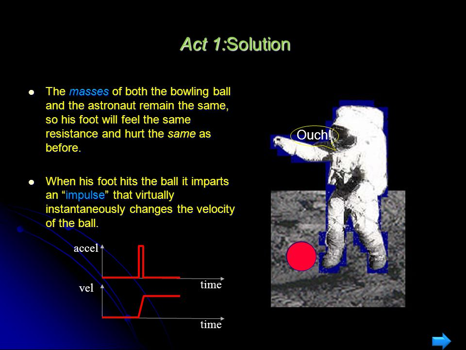 Act 1:Mass vs. Weight An astronaut on Earth kicks a bowling ball straight ahead and hurts his foot. A year later, the same astronaut kicks a bowling b