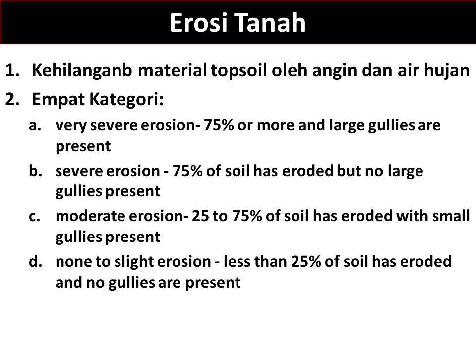 Erosi Tanah 1.Kehilanganb material topsoil oleh angin dan air hujan 2.Empat Kategori: a.very severe erosion- 75% or more and large gullies are present
