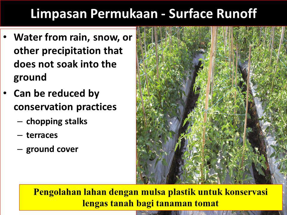 Limpasan Permukaan - Surface Runoff Water from rain, snow, or other precipitation that does not soak into the ground Can be reduced by conservation practices – chopping stalks – terraces – ground cover Pengolahan lahan dengan mulsa plastik untuk konservasi lengas tanah bagi tanaman tomat