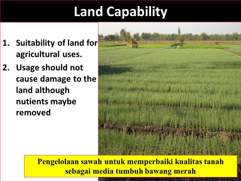 Land Capability 1.Suitability of land for agricultural uses.