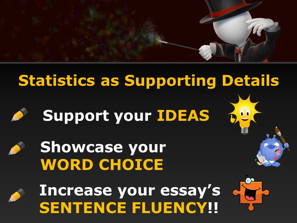 Statistics as Supporting Details Support your IDEAS Showcase your WORD CHOICE Increase your essay's SENTENCE FLUENCY!!