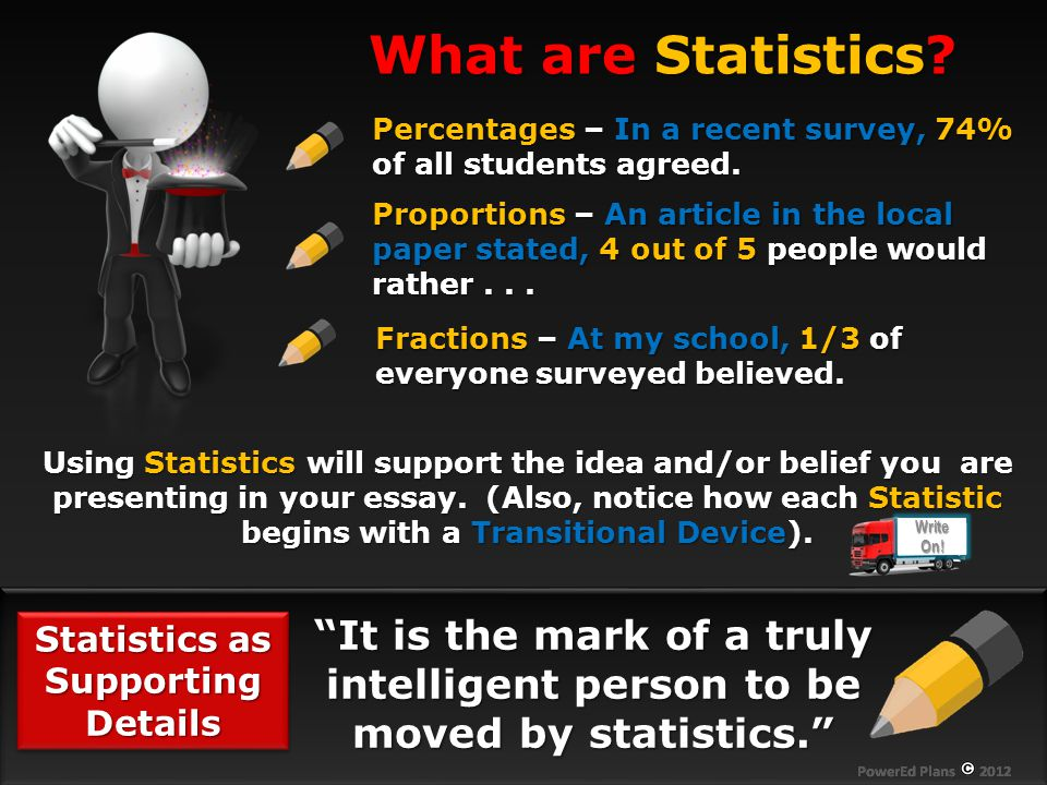 Statistics as Supporting Details It is the mark of a truly intelligent person to be moved by statistics. What are Statistics.
