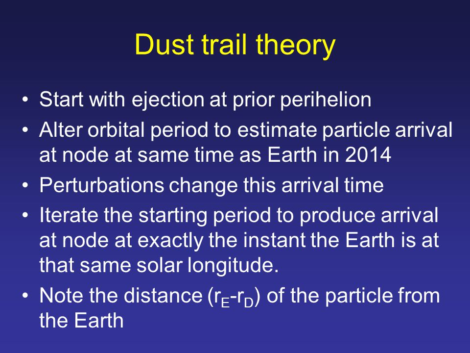 Dust trail theory Start with ejection at prior perihelion Alter orbital period to estimate particle arrival at node at same time as Earth in 2014 Perturbations change this arrival time Iterate the starting period to produce arrival at node at exactly the instant the Earth is at that same solar longitude.