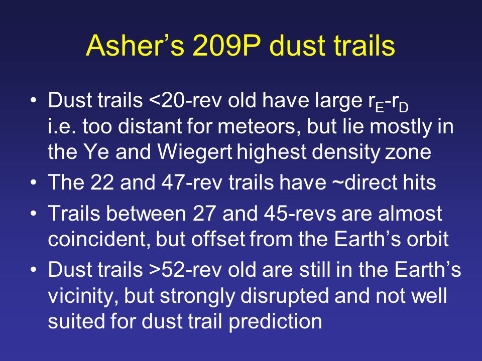 Asher's 209P dust trails Dust trails <20-rev old have large r E -r D i.e.