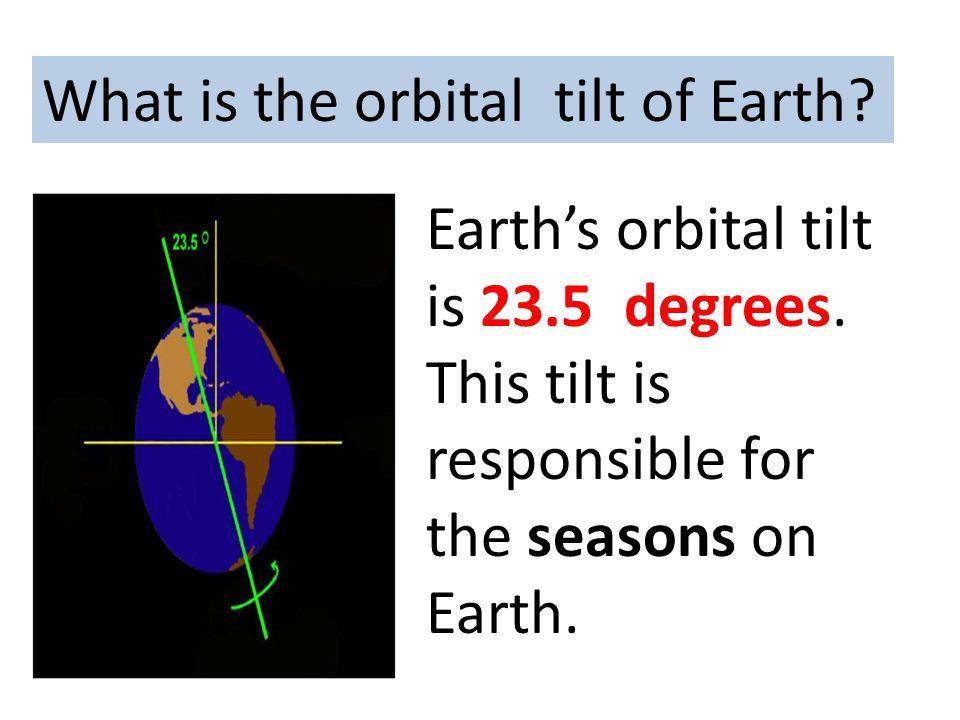What is the orbital tilt of Earth? Earth's orbital tilt is 23.5 degrees. This tilt is responsible for the seasons on Earth.