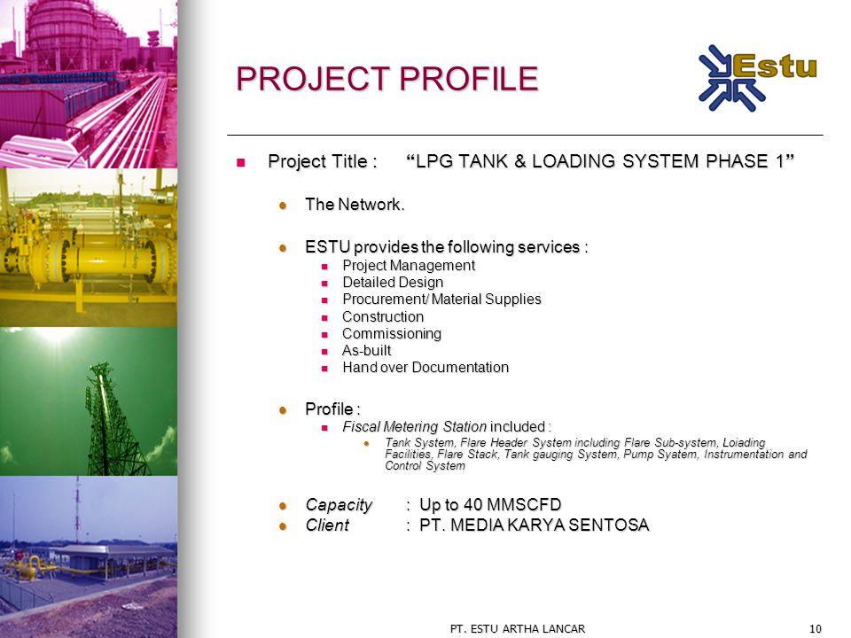 "PT. ESTU ARTHA LANCAR10 PROJECT PROFILE Project Title : ""LPG TANK & LOADING SYSTEM PHASE 1"" Project Title : ""LPG TANK & LOADING SYSTEM PHASE 1"" The Ne"