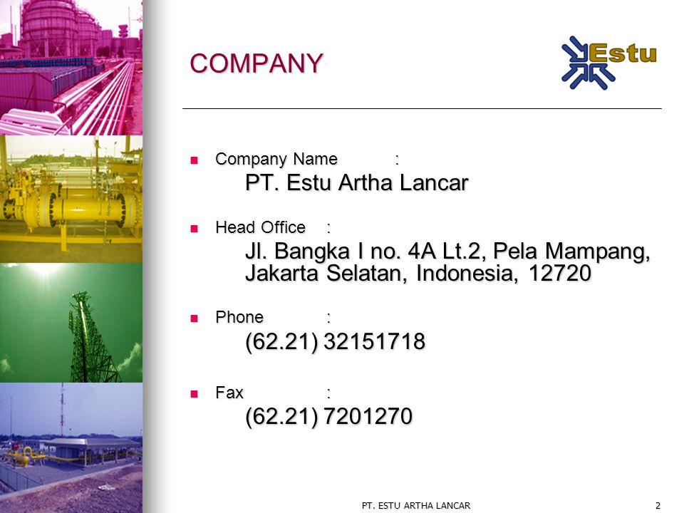 2 COMPANY Company Name: Company Name: PT. Estu Artha Lancar Head Office: Head Office: Jl. Bangka I no. 4A Lt.2, Pela Mampang, Jakarta Selatan, Indones