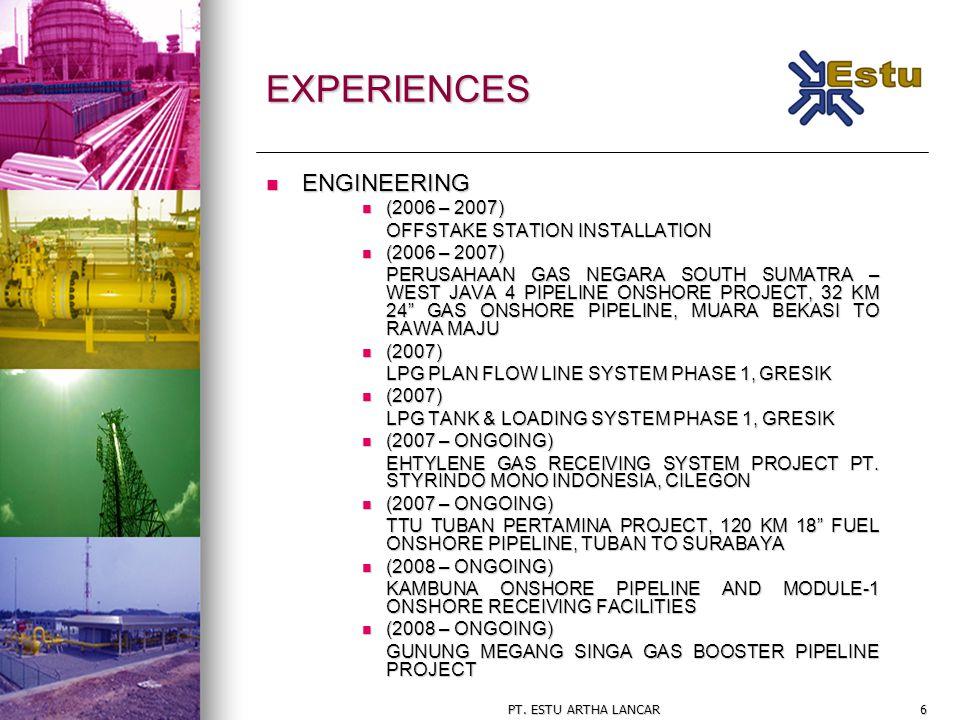 PT. ESTU ARTHA LANCAR6 EXPERIENCES ENGINEERING ENGINEERING (2006 – 2007) (2006 – 2007) OFFSTAKE STATION INSTALLATION (2006 – 2007) (2006 – 2007) PERUS